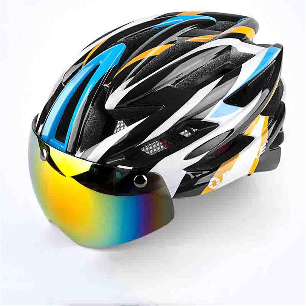 H&Q PC EPS-Material mit magnetischer Schutzbrille Reithelm DREI Paar Gläser integrierte Mountainbike-Helm, atmungsaktiv und bequem Verstellbaren Kopfumfang der Mountain Road Bike-Ausrüstung