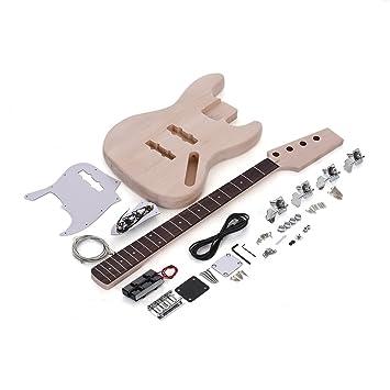 JAZZ Bajo Estilo 4 Cuerdas Eléctrico Bajo Sólido Tilo Cuerpo Arce Cuello Diapasón de Palisandro DIY Kit: Amazon.es: Instrumentos musicales