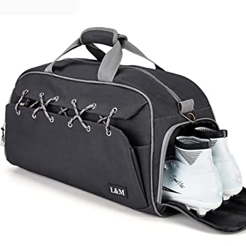 0ecccf2b26 Amazon.com | Sport Gym Duffel Bag with Shoes Compartment Lightweight Travel  Overnight Bag for Men and Women (Black) | Sports Duffels