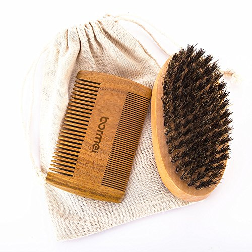 Boar Bristle Beard Brush & Comb Beard kit for Men-Militar...