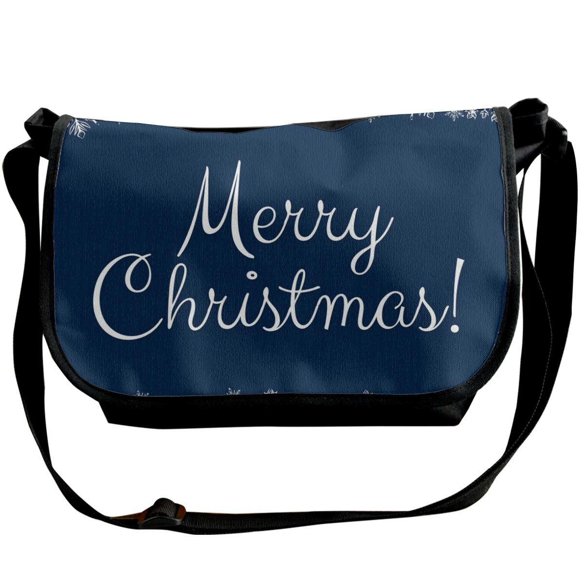Taslilye Christmas Card With Snowflakes Vector Image Customized Wide Crossbody Shoulder Bag For Men And Women For Daily Work Or Travel