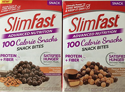 Slim Fast Snack Bites Bundle 2 Pack: Chocolate Pretzel and Peanut Butter Chocolate (1 Pack of Each)
