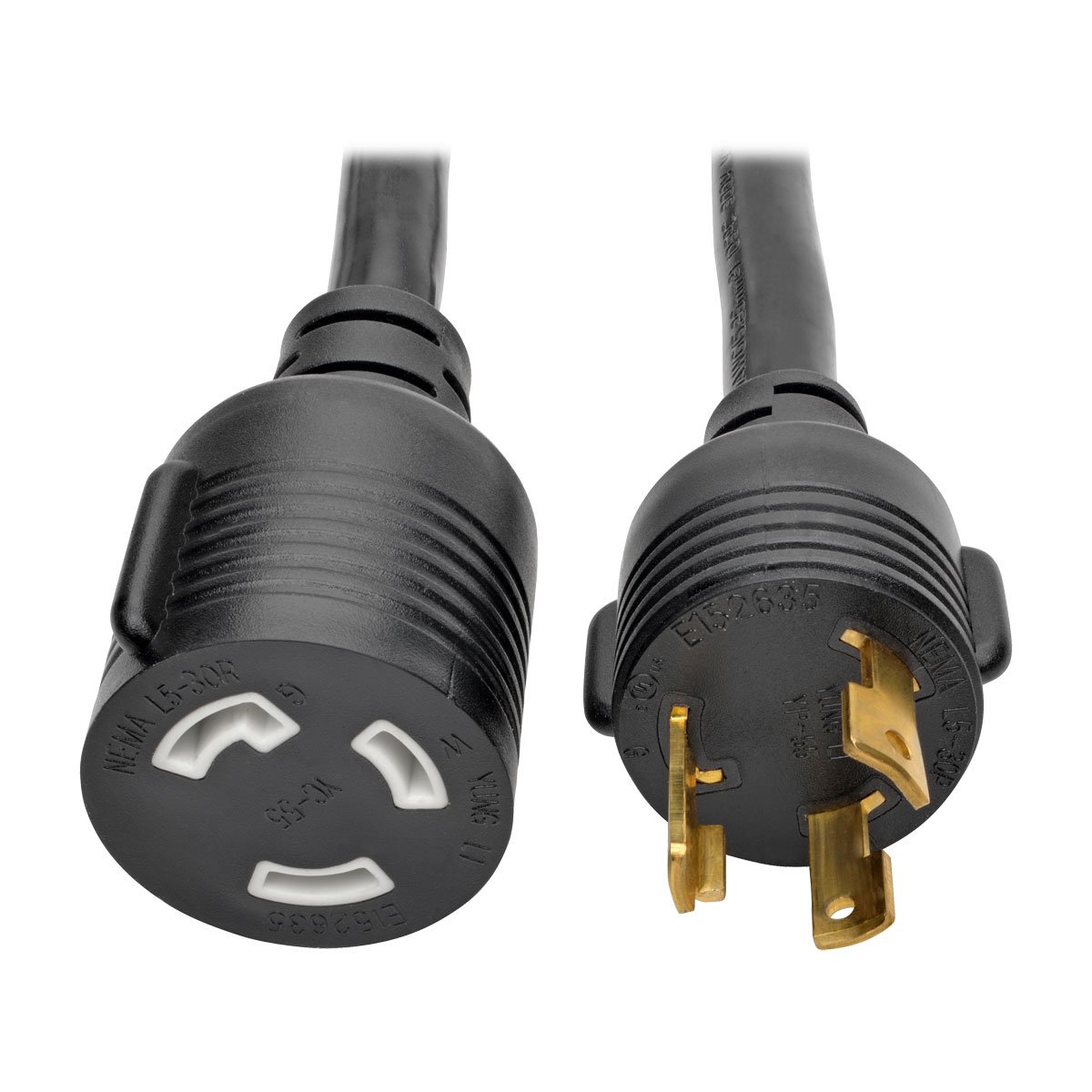 TRIPP LITE Heavy Duty Power Extension Cord 30A 10 AWG L5-30P to L5-30R Locking Connectors 10', Black (P046-010-LL-30A)