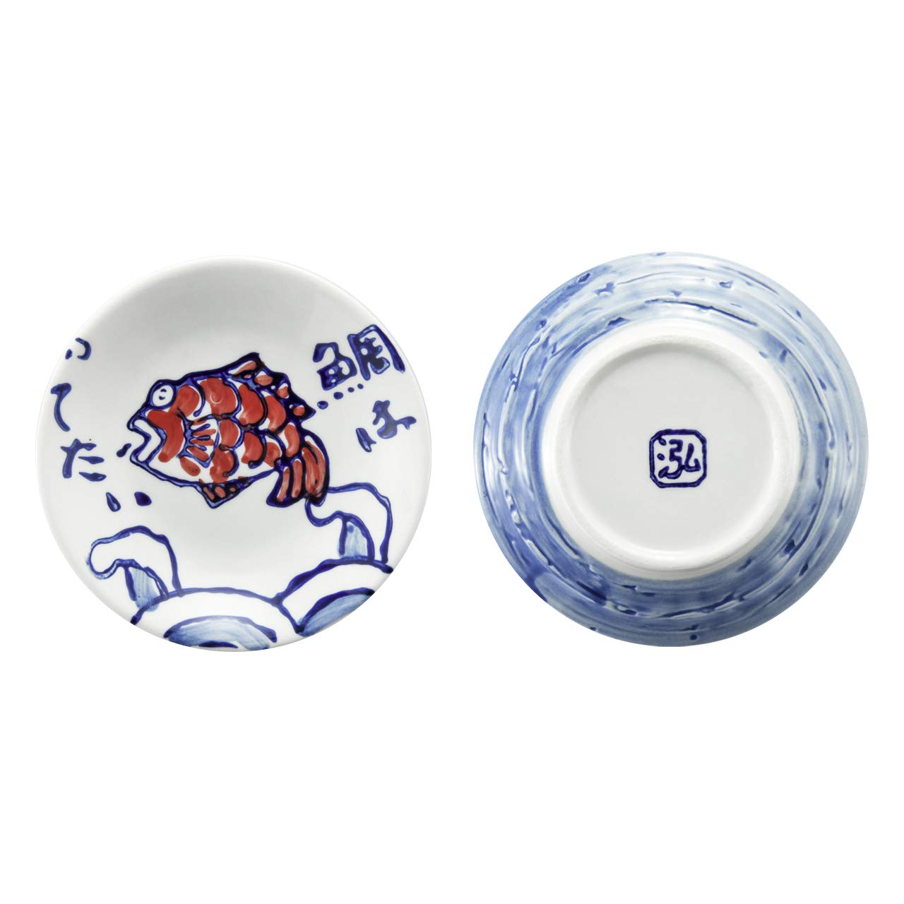 3.75inch Fish Pattern Beautyflier Set of 4 Ceramic Sauce Dish Soy Sauce Dipping Bowls Appetizer Plates Side Dishes Serving Dish Japanese Style Dinnerware Set