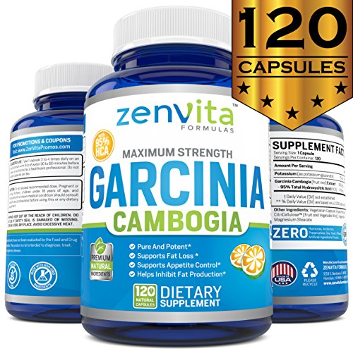 Pure Garcinia Cambogia Extract 95% HCA - 120 Capsules - Non-GMO & Gluten Free, Highest Potency, Maximum Strength Natural Weight Loss Supplement, Appetite Suppressant, Fat Burner