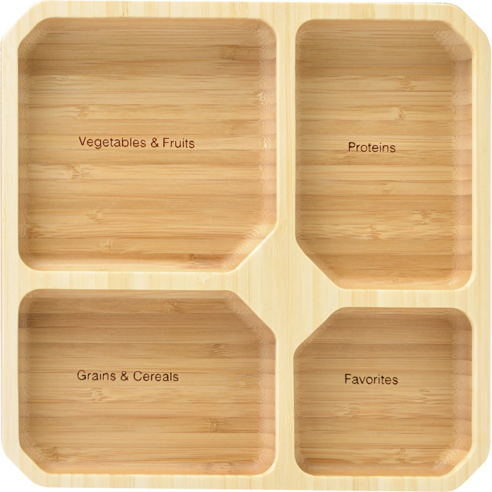 La Boos Square Portion Control Plates (4-Section) - MyPlate Healthy Diet Ratio Control or Weight Loss Aid Plate - Made with Bamboo - BPA-Free Lunch Plate or Healthy Eating Plate laboos LBK001