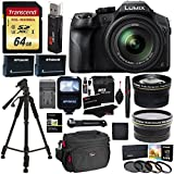 Panasonic FZ300 LUMIX DMC 4K Point & Shoot Camera Leica DC Lens 24X Zoom + Wide Angle & Telephoto Lens + 64GB + 57 Tripod + Ritz Gear Bag + 2 Batteries + Charger + Filter + Polaroid Accessory Kit