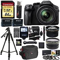 Panasonic FZ300 LUMIX DMC 4K Point & Shoot Camera Leica DC Lens 24X Zoom + Wide Angle & Telephoto Lens + 64GB + 57