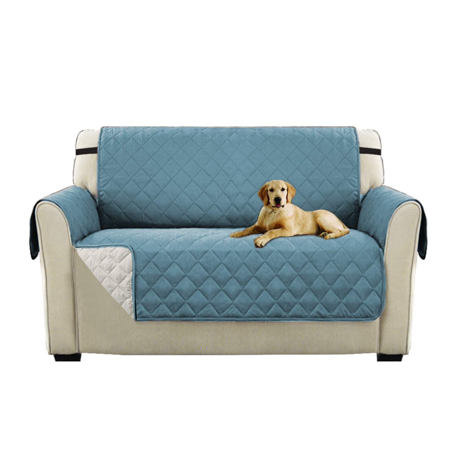 Turquoize Luxurious Plush Reversible Quilted Furniture Protector, Stay in Place Microfiber Stain Resistance Sofa Slipcover for Pets/Dogs / Cats (Love Seat: Stone Blue/Beige) - 75 inches by 90 inches by Turquoize (Image #1)