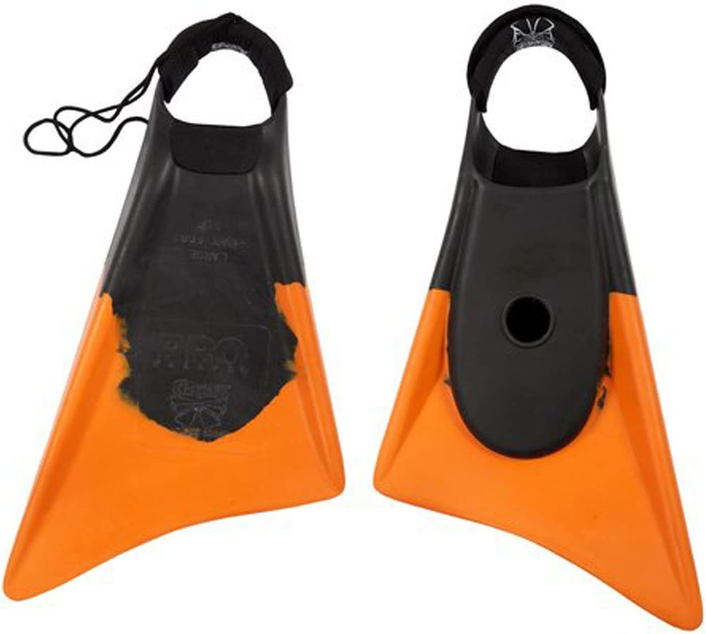 Churchill Makapuu PRO Swimfins Asymmetrical Dolphin Swim Fin Bundled with a Heel Pad and Fin Insert Cushion