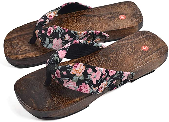 Japanese Red Brown Wooden Clogs Sandals Red Brown Thong Flip Flop Women Size 8