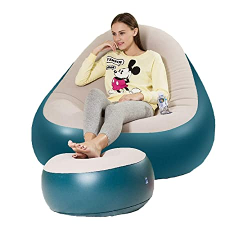 Astounding Lazy Sofa With Footstool Portable Lazy Couch Inflatable Ocoug Best Dining Table And Chair Ideas Images Ocougorg