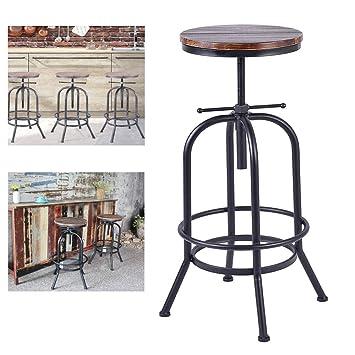 Superb Amazon Com Diwhy Vintage Industrial Bar Stools Solid Pine Machost Co Dining Chair Design Ideas Machostcouk