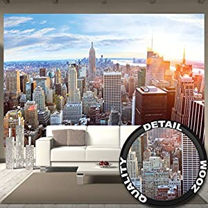 new york penthouse skyline photo wallpaper manhattan panorama view mural xxl. Black Bedroom Furniture Sets. Home Design Ideas
