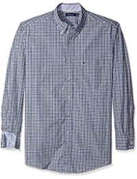 Nautica Men's Big and Tall Long Sleeve Check Plaid Button...