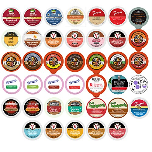 Winter and Seasonal Flavored Coffee, Tea, Hot Cocoa and Cider, Single Serve Cups for Keurig K cup Brewers (40 Count)
