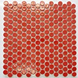 Red Round Porcelain Mosaic Tile Kitchen Backsplash Bathroom Tile Wall Tile Floor Tile (Full Sheet)