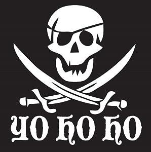 Keen Yo Ho Ho Pirate Decal Vinyl Sticker| Cars Trucks Vans Walls Laptop|White|5 X 5.3 in|KCD301