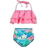 Girls Two Piece Tankini Swimsuit Hawaiian Ruffle Swimwear Bathing Suit Set Blue