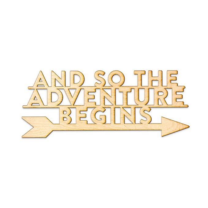 Amazon.com: And So The Adventure Begins Arrow Left Wood Sign Home ...