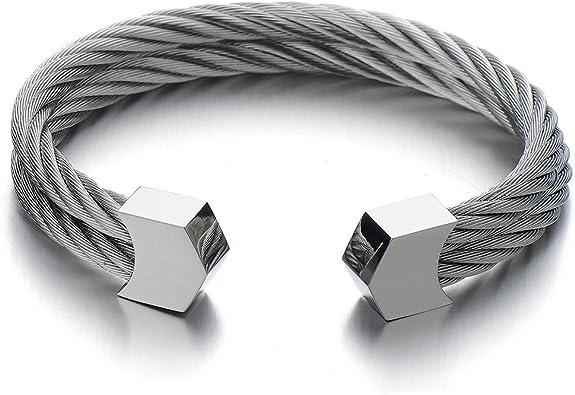 COOLSTEELANDBEYOND Acier Inoxydable Deux Rang/ées R/églable Bracelet Manchette C/âble Torsad/é pour Hommes Femme
