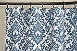 Fabric Shower Curtain - CECILIA PREMIER NAVY - 72'' Width x (72'', 74'', 78'', 84'', 90'', 96'') Length