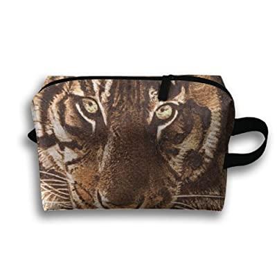 LINGMEI Portable Makeup Pouch Fierce Tiger Travel Cosmetic Bags For Womens Young Gifts