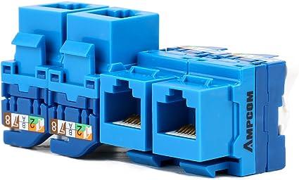 100x Pack Lot CAT6 Network RJ45 Port 110 Punch Down Keystone Snap-In Jack Blue