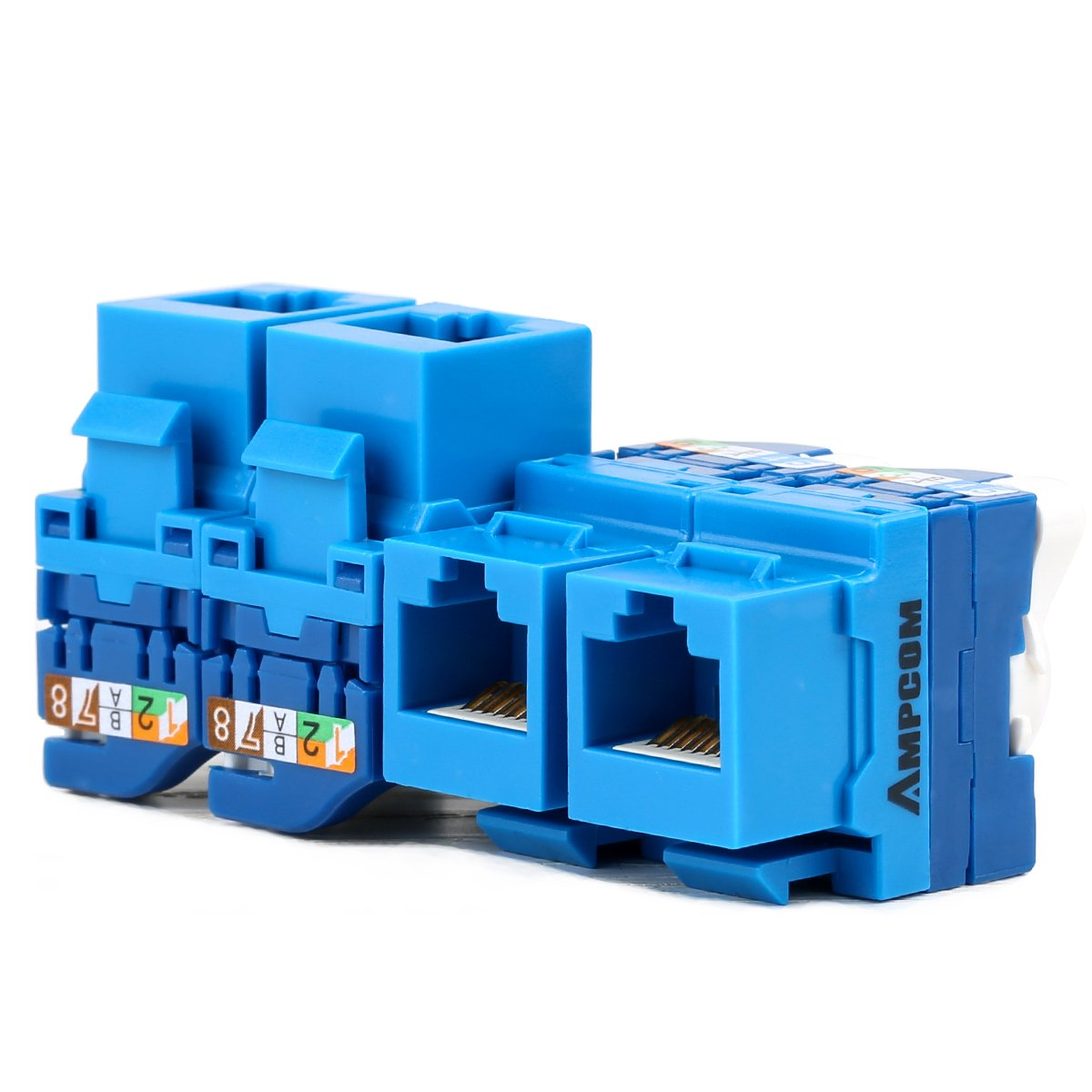 10-PACK CAT6 Tool Less Keystone Jack,AMPCOM RJ45 Self-Locking Cat.6 Keystone Module Adapter No Punch-Down Tool Required Couplers For Wall Plate UTP Blue