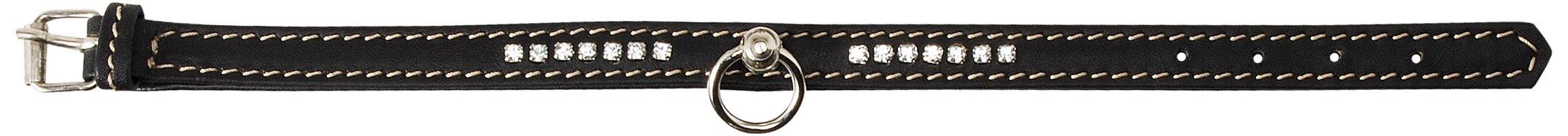 Petego La Cinopelca Flat Calfskin Collar with Crystals, Black, Medium, 1-Inch by 13-Inch