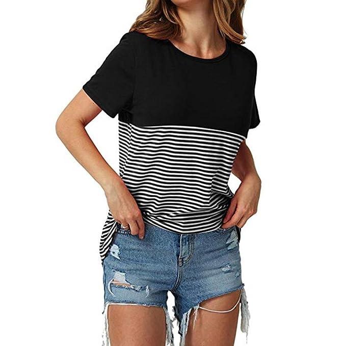 URSING Damen Sommer T-Shirts Frauen Kurzarm T-Shirt große Größe Gestreift V 850a14cbf1