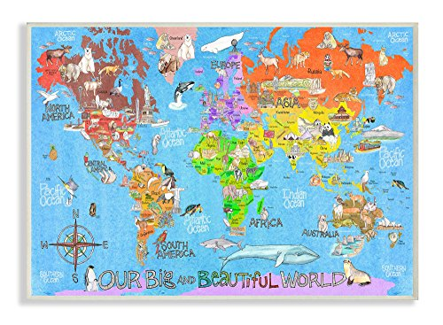 World Stretched Canvas - The Kids Room by Stupell The Big Beautiful World Map Wall Art Signs and Plaques
