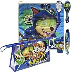 Paw Patrol Night Vision Neceser Travel Dental Face Hygiene 5 Pieces Set For Kids