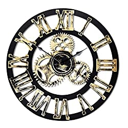 16 Round Wall Clock, Antique Handmade Wooden Vintage 3D Gear Design, By Chevy K. (Gold with Roman Numerals)