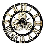 16'' Round Wall Clock, Antique Handmade Wooden Vintage 3D Gear Design, By Chevy K. (Gold with Roman Numerals)
