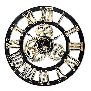 Top Race Reloj de pared redondo de 16 pulgadas, diseño de engranajes antiguos de madera hechos a mano en 3D de la vendimia, por Chevy K. (oro con números romanos),