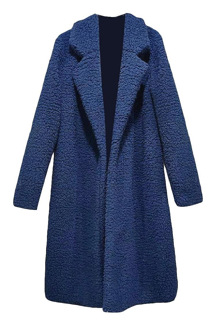 YUNY Womens Lapel Open-Front Velvet Mid-Long Oversize Baggy Coat Jacket Navy Blue XS