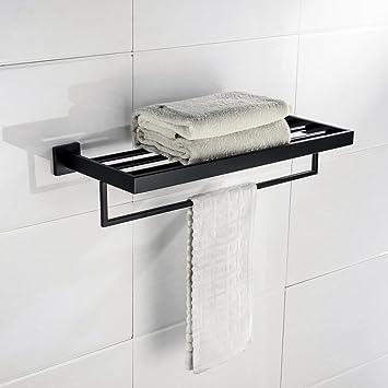 Turs 22-pulgadas baño toalla rack almacenamiento organizador percha toalla bar sus 304 acero inoxidable montaje en pared, negro mate, A7008B: Amazon.es: ...