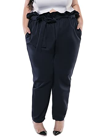 afdeea03afe Astra Signature Women s Casual Loose Dark Blue High Waisted Plus Size Annie  Paper Bag Pants with