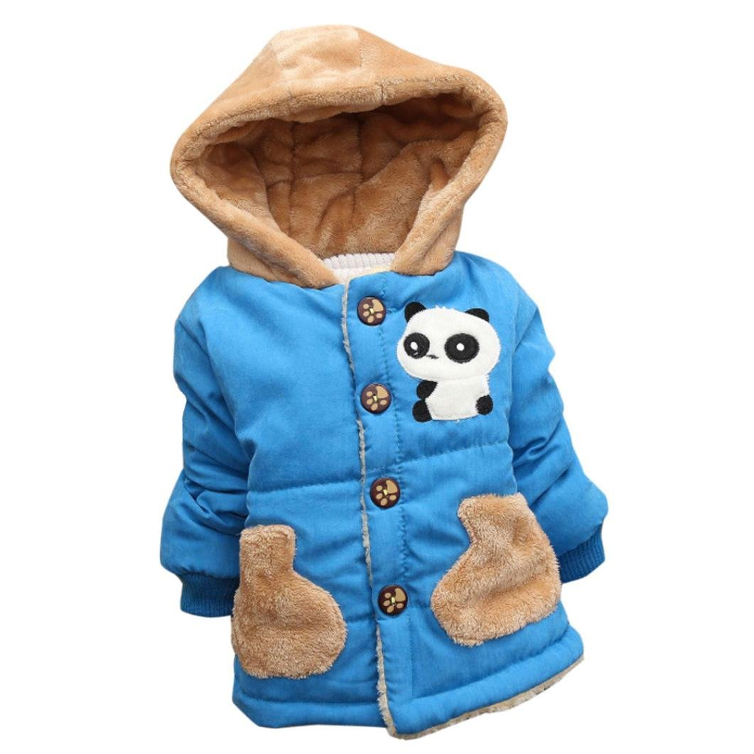 sunnymi Baby Thick Warm Coat Toddler Boys Girls Autumn Winter Hooded Cloak Clothes (Blue, 24 Month)