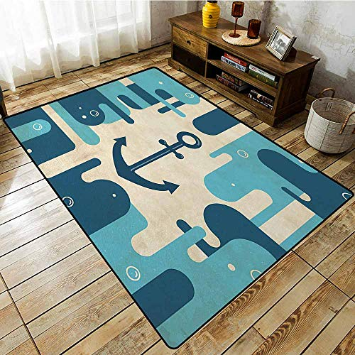 Pet Rug,Anchor Nautical Sea Inspired Abstract Design with Bubble Like Shapes Retro,Rustic Home Decor,4