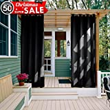 Outdoor Curtain Panel 108 Long - NICETOWN Water Repellent Thermal Insulated Blackout Indoor Outdoor Curtain / Drape (1 Panel,52 x 108-Inch, Black)