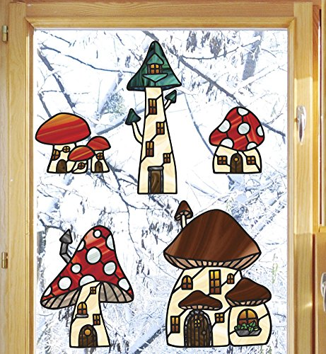 Gnomes Sticker - Mushroom Village XL - Set of 5 Houses - Fairy - Gnome - Fantasy - Stained Glass Style Vinyl Window Decal - See-Through - Copyright 2017 Yadda-Yadda Design Co. (SIZE CHOICES) (XL, Set of 5)
