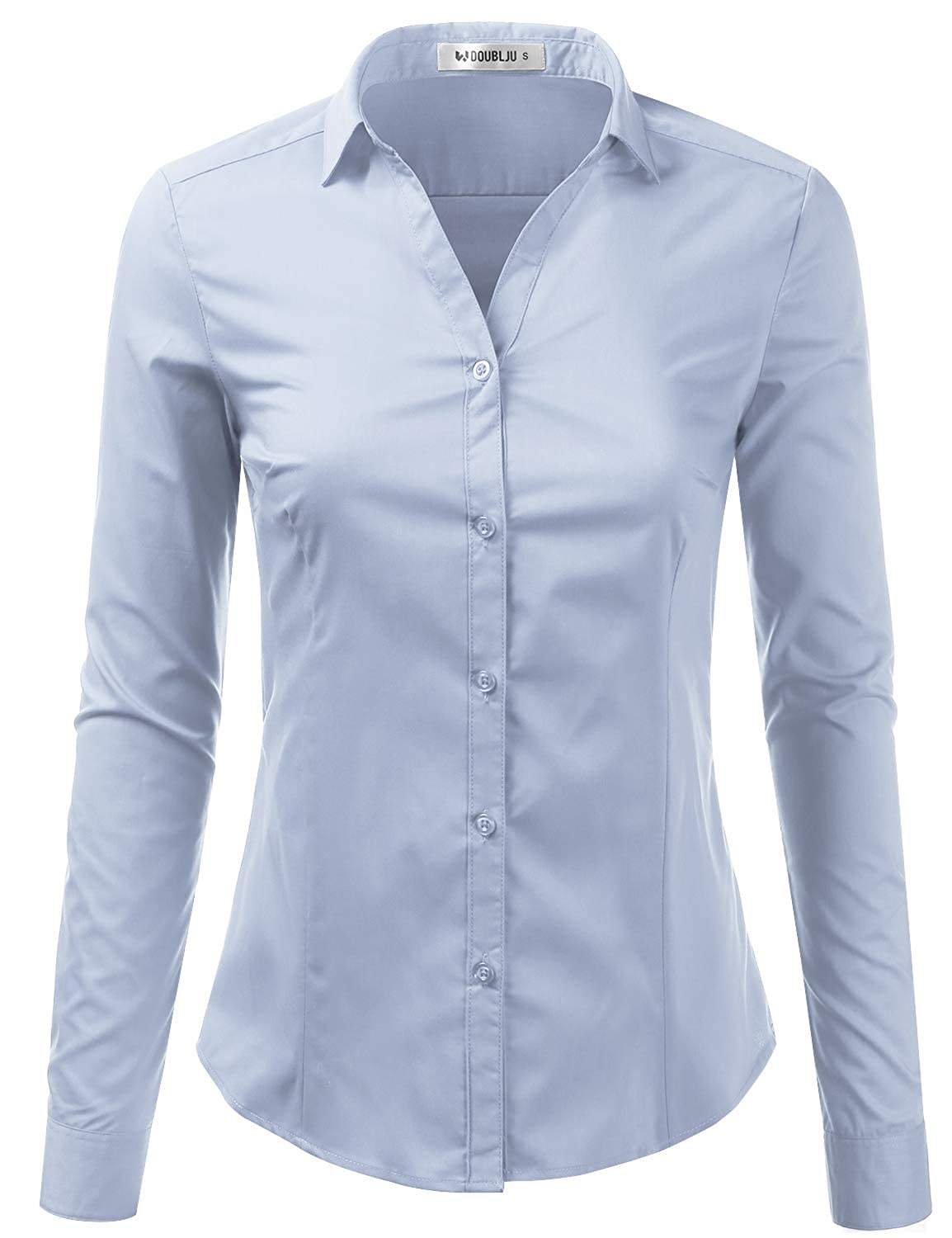 b875f93b6c87fa #CWTBLL031, CWTSTL068 - Basic Slim Fit Long Sleeve Button Down Collared  Shirts For Women With Plus Size