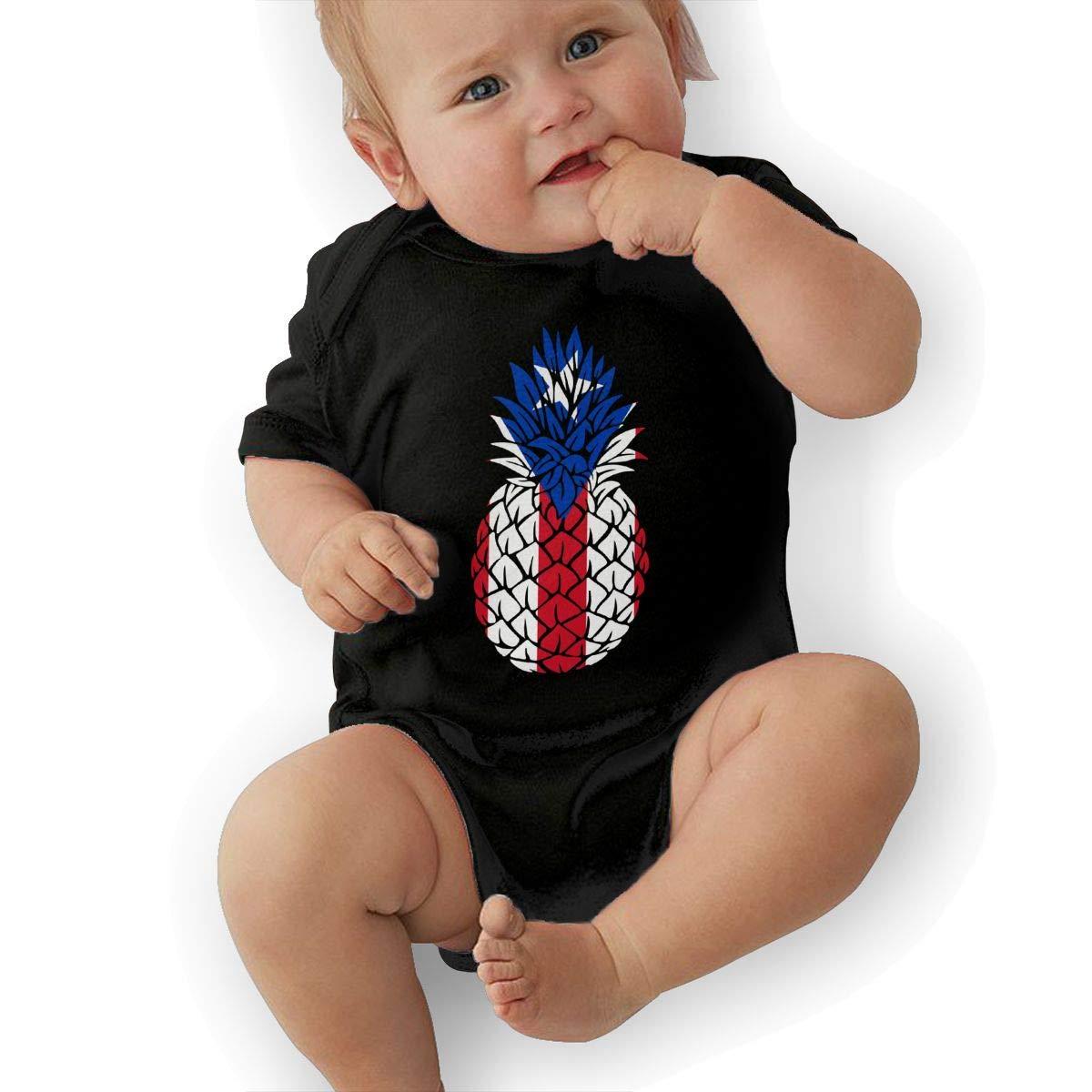 Puerto Rico Flag Pineapple2 Newborn Baby Girl Boy Bodysuit Jumpsuit Short Sleeved Bodysuit Tops Clothes