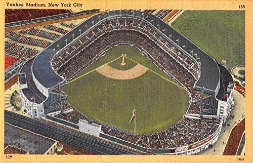 New York City Yankee Stadium Aerial View Linen Antique Postcard J75631