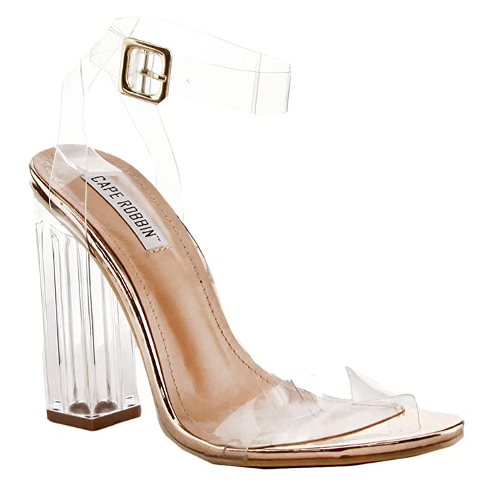 Amazon.com   Cape Robbin Maria-2 Women's Lucite Clear Strappy Block Chunky  High Heel Open Peep Toe Sandal   Sandals