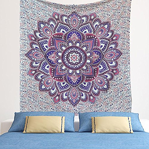 Indian Purple-blue Bohemian Psychedelic Floral-ombre Queen-size-large-mandala Tapestry-hippie-84x90