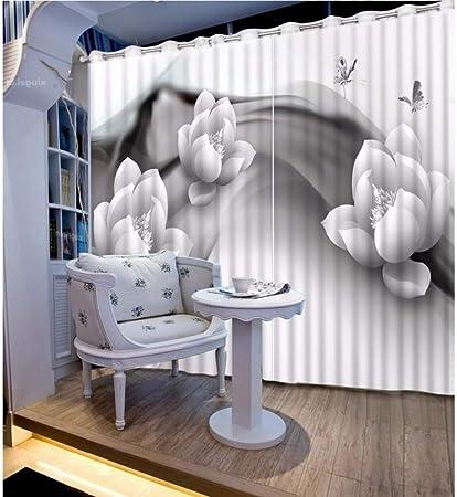 WKJHDFGB Cortinas Blancas Y Negras De La Flor Europea del Apagón Blanco Y Negro para Las