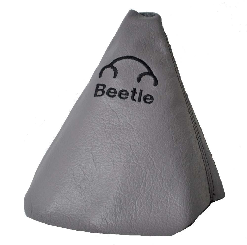 The Tuning-Shop Ltd for Volkswagen Beetle 1997-2011 Grey Leather Shift Boot with Black Beetle Embroidery Logo